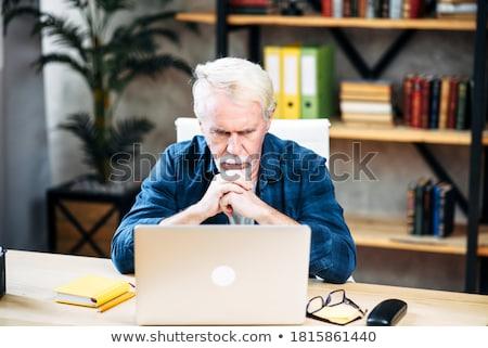 Zamyślony starszy człowiek domu mężczyzna Zdjęcia stock © HighwayStarz