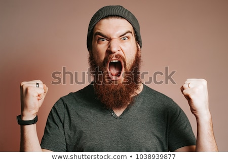 Schreeuwen bebaarde mond scary persoon Stockfoto © nomadsoul1