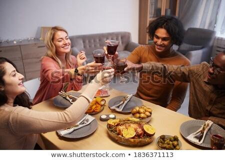 Magasról fotózva kilátás boldog több nemzetiségű csoport barátok Stock fotó © wavebreak_media