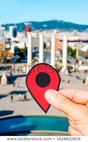 Vermelho marcador colina Barcelona Espanha Foto stock © nito