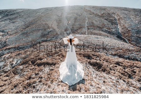 Beautiful bride in wedding dress on the mountain top. Stunning young bride with curly hair and a bou Stock photo © ElenaBatkova