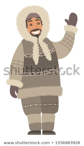 Eskimo Man Stand and Wave Hand, Isolated Person Stock photo © robuart