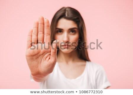 美少女 停止 ジェスチャー 幼年 禁止 ストックフォト © dolgachov