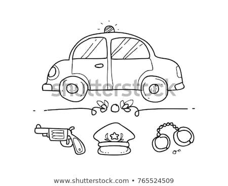 Polizei Auto Maschine Symbol Gliederung Illustration Stock foto © pikepicture