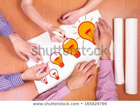 Person holding white paper with new idea concept Stock photo © ra2studio