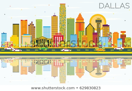 Outline Dallas Skyline with Blue Buildings and Reflections. Stock photo © ShustrikS