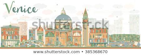 Abstrato Veneza linha do horizonte silhueta cor edifícios Foto stock © ShustrikS