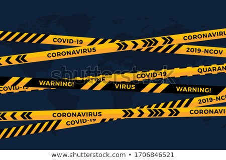 Vector biohazard danger yellow black tape on white paper cut world map background. Safety fencing Stock photo © Iaroslava