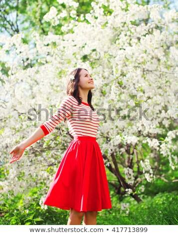 Enjoying aroma of blooming tree Stock photo © Anna_Om