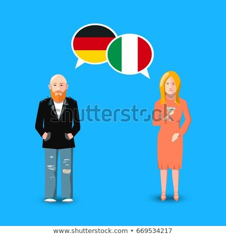 Duas pessoas branco Alemanha Itália bandeiras Foto stock © evgeny89