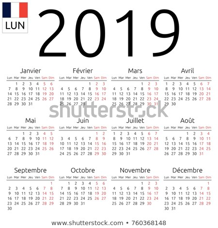 2019 year simple white calendar on french language on black Stock photo © evgeny89