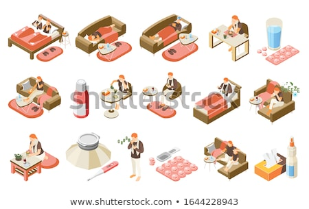 Headache Isometric Icons Set Vector Stock photo © pikepicture