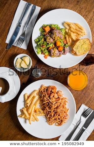 Tassen Besteck Restaurant Tabelle Essen Stock foto © dolgachov