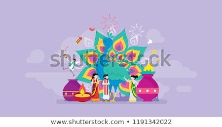 Hinduizm iniş sayfa Hint aile geleneksel Stok fotoğraf © RAStudio