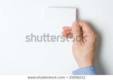 Businessman Introduces Himself With A Business Card Presentation Hands Over Contacts To Client Ag Foto stock © hfng