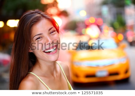 Asian girl smiling happy portrait on NYC city street. Sunset summer outdoor young woman enjoying lif Stock photo © Maridav