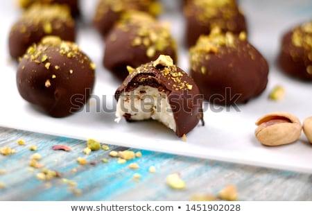 Marcipán golyók étel fehér desszert Stock fotó © FOKA