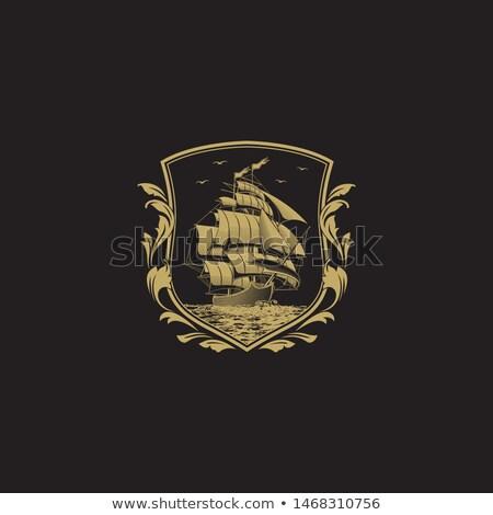 Zeilschip embleem illustratie achtergrond oceaan reizen Stockfoto © Hermione