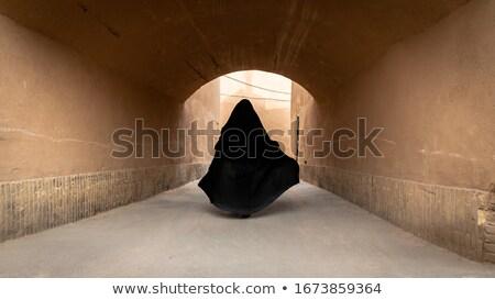 Nő Irán öreg figyelmeztetés hagyományos építészet Stock fotó © travelphotography