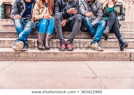 Gruppe · außerhalb · Winter · drei - stock foto © elenaphoto