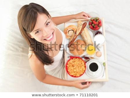 Stockfoto: Vrouw · ontbijt · bed · gezonde · continentaal · ontbijt · kaukasisch