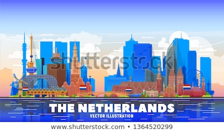 cartoon · rotterdam · panoramę · sylwetka · miasta · Niderlandy - zdjęcia stock © blamb