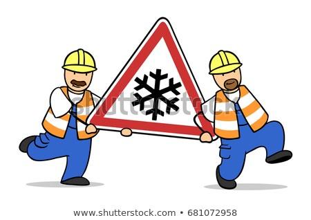 Artesão dois sinais de trânsito estrada construção Foto stock © photography33