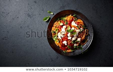 パスタ · 皿 · 調理済みの · トマト · 唐辛子 · ソース - ストックフォト © elly_l
