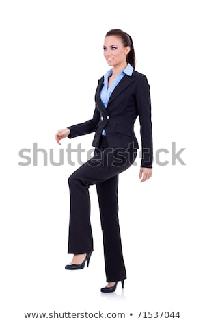 woman stepping on imaginary step stock photo © feedough