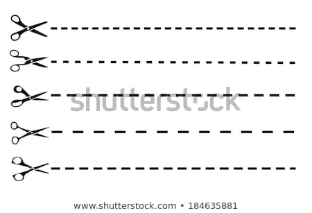 Paper sticker with scissors and dash line Stock photo © gladiolus