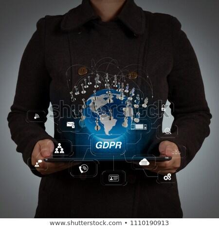 Computer Security Diagram Shows Laptop Internet Safety Stock photo © stuartmiles