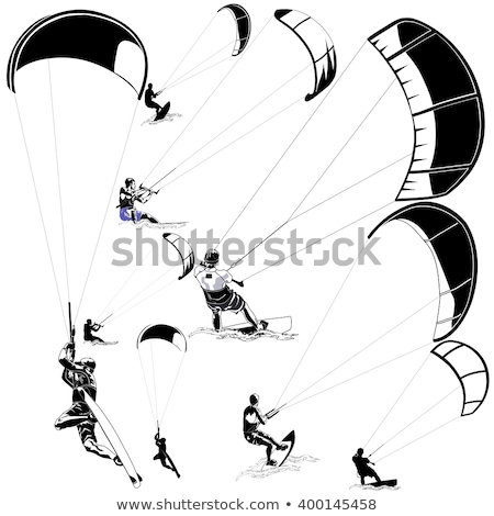 Kite Surfing silhouettes set Stock photo © Kaludov