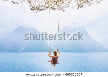 Donna swing ragazza felice natura Foto d'archivio © ongap