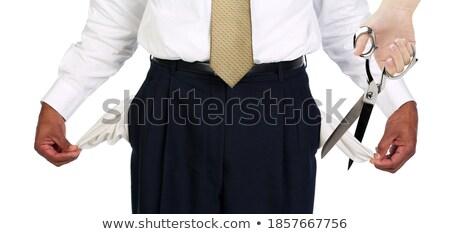 Férfi húz ki üres olló üzlet Stock fotó © ozaiachin
