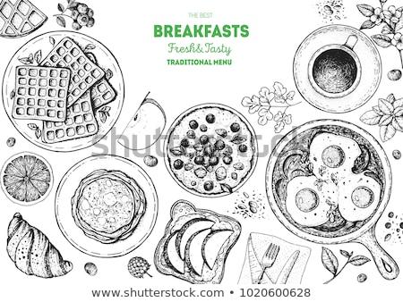 ízletes reggeli tea croissantok nápolyi krém Stock fotó © tannjuska