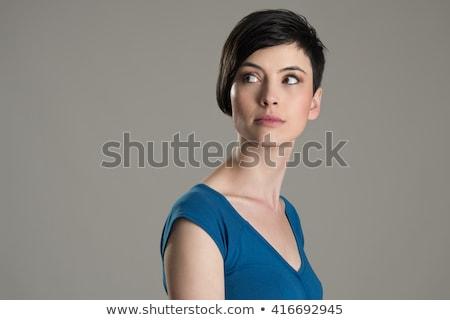 Ciddi güzel bir kadın bakıyor geri kadın Stok fotoğraf © alexandrenunes