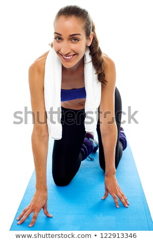 Woman mocking a sprinter on a race track Stock photo © stockyimages
