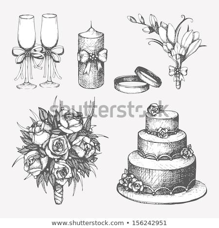 Wedding rings with calla bouquet Stock photo © dashapetrenko