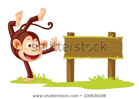 Monkey with blank sign Stock photo © dagadu
