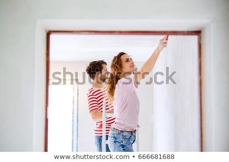 Coppia · pittura · stanza · rosso · panorama · interni - foto d'archivio © photography33