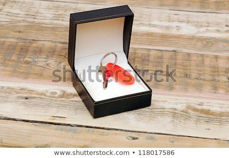 Foto d'archivio: Chiave · tag · nero · scatola · regalo · legno · home