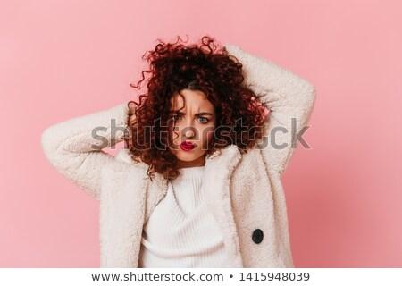 vrouw · rode · lippen · haren · gezicht · gelukkig · vrouwelijke - stockfoto © wavebreak_media