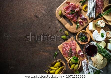 Pepperoni salami queso tabla de cortar naranja carne Foto stock © saddako2