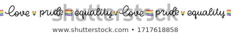 Gej banderą serca pasiasty naklejki wektora Zdjęcia stock © gubh83
