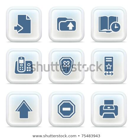 History icon on glossy blue button illustration Stock photo © alexmillos