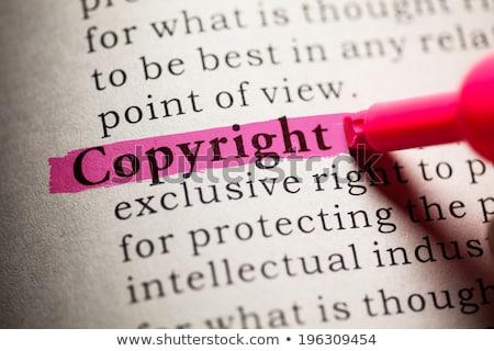 Droit d'auteur définition dictionnaire papier impression apprendre Photo stock © sqback