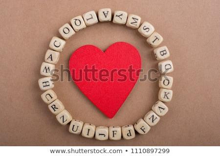 Alfabe ahşap oyun yazım ahşap kelime Stok fotoğraf © lunamarina