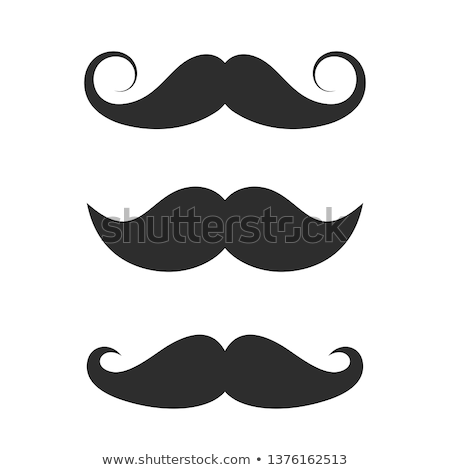 Stock photo: Moustaches set mustache icons isolated set movember, costume party on man face. Body template for fu