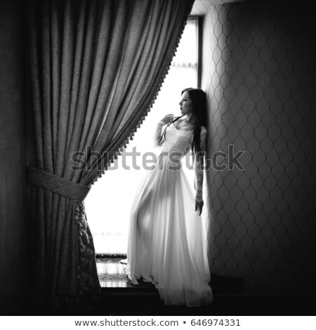 Woman in nice dress stand on sill Stock photo © vetdoctor