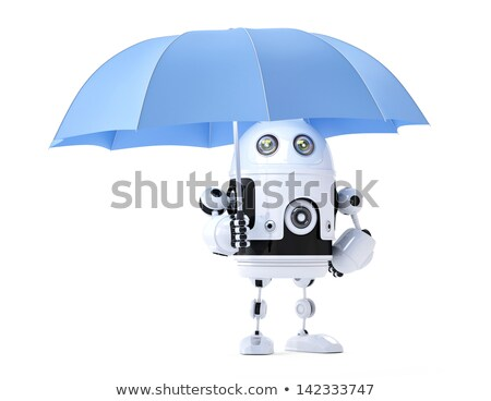Android robot with umbrella. Security concept Stock photo © Kirill_M